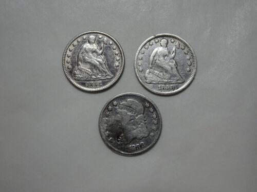 Lot of 3 Half Dimes - 1832, 1858 P, 1858 O - You Grade It (#Fs2n)