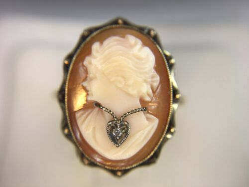 Vintage 10k Yellow Gold Oval Cameo Lady Necklace Diamond Ring Size 7.50
