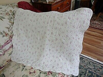 Quilted Standard Pillow Sham Country Tiny Pink Roses MINT~Fresh & Clean~ Mountain Fresh Bedding