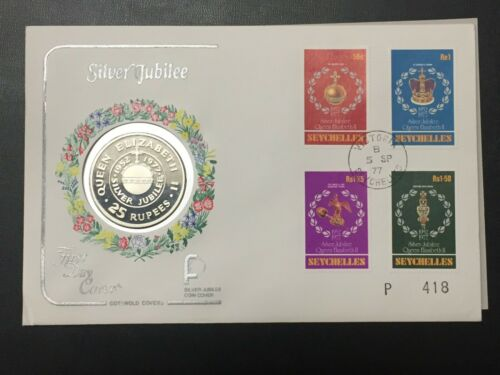 1977 Seychelles 25 Rupees Silver Proof & FDC Cover Set Lot#B521