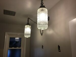 Antique dble glass vanity light (spray paint modern look $90.)