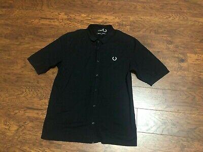 Vtg Fred Perry x Raf Simons Black Button Down Polo Pique Knit Polo Shirt Sz XL