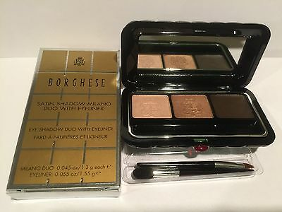 Borghese Satin Shadow Milano Eye Shadow Duo / Gel Eyeliner   Belleza Brown NIB