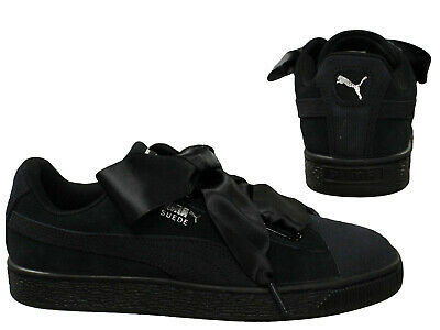 Puma Suede Heart Pebble Lace Up Womens Low Top Trainers Black 365210 04 Q7C