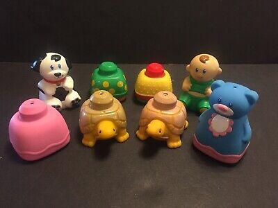 8 Vintage Mega Bloks Baby Soft Blocks Squeak Hard Baby Dog Turtle Bear Toy
