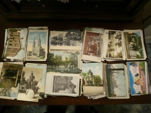 LOT OF 50 VINTAGE POSTCARDS *** USED AND UNUSED , Early 1900s to the late 1950s