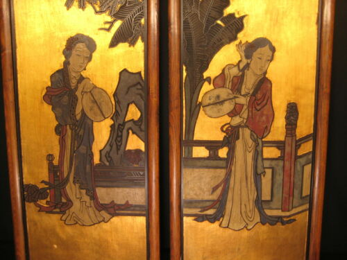 CHINESE PAIR OF 2 HAND CARVED WALL HANGINGS TRADITIONAL QING DYNASTY STYLE WOMEN