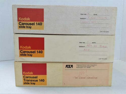 Lot of 3 Kodak Carousel Transvue 140 Projector Slide Trays Ektagraphic 621