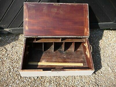 Antique Victorian Table Top Clerks desk with hinged top +  Pigeon holes -painted