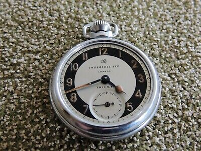 Vintage Ingersoll Ltd Triumph Pocket Watch, Missing Crystal, Good Working Order.