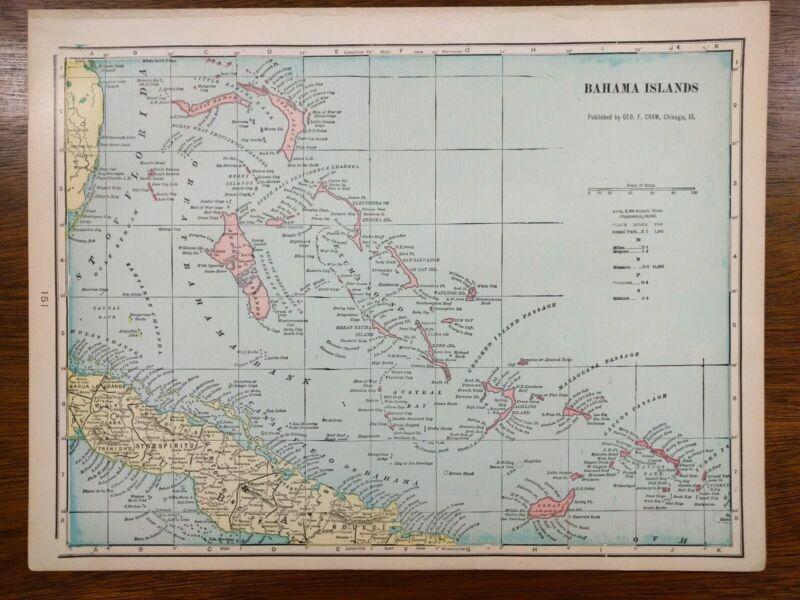 "Vintage 1900 BAHAMA ISLANDS Atlas Map 14""x11"" Old Antique NASSAU FREEPORT"