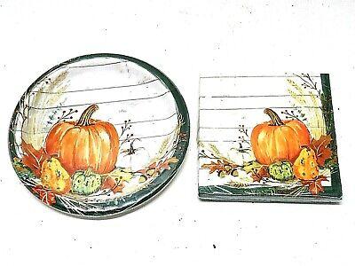 Fall Paper Plates & Napkins Set Pumpkins Dessert Autumn Thanksgiving Harvest