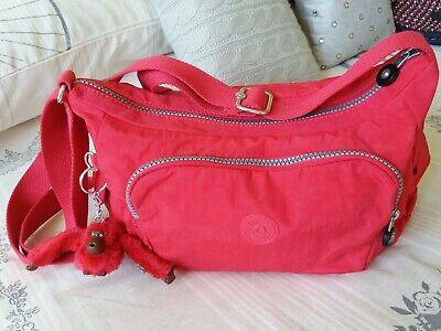 New Kipling Shoulder Cross body bag medium Very Berry Red with Monkey Asiye