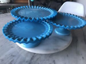 Set of Three Turquoise Glass Cake Stands