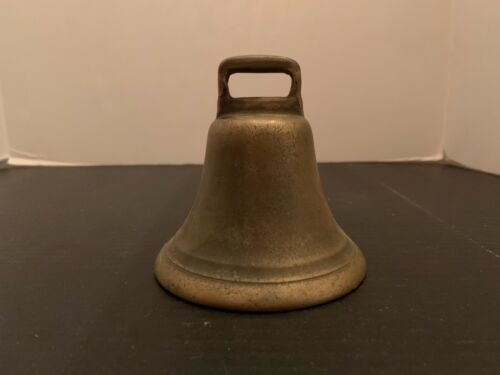 Antique Primitive Brass Round Cow Bell 3.75 Inches