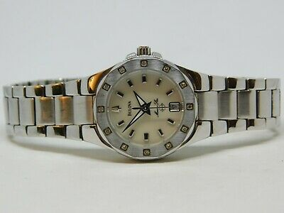 Bulova A4 Marina Star Diamond Bezel Quartz Analog Ladies Watch