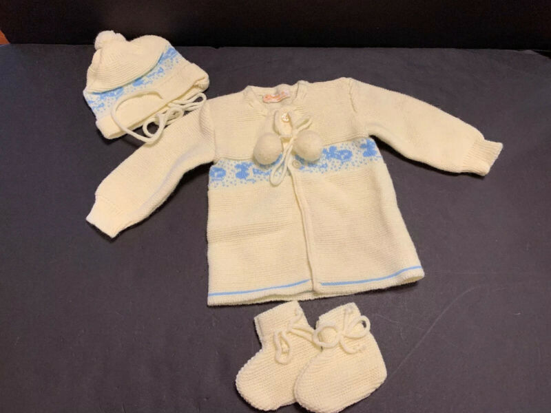 Renzo Vintage Knit Baby Sweater Hat Booties Poms Yellow Italy Size 0-3 Months