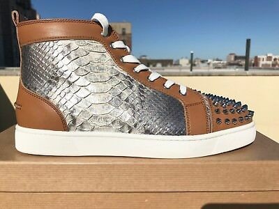 Mens Christian Louboutin Louis Beige, Silver Python Sneakers Size 42 ($1695)