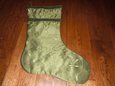 Green Embroidered Christmas Stocking NWOT