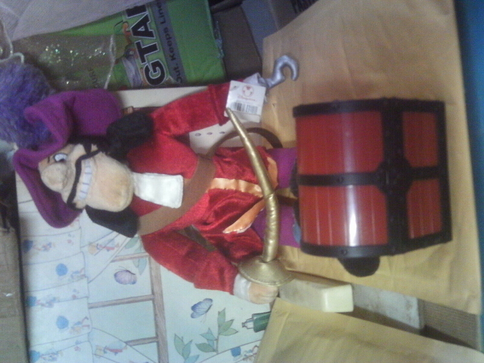 Disney Plush Captain Hook & treasure chest