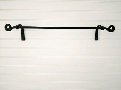 Amish forged black wrought iron small towel holder bar - strong & sturdy metal Forged Towel Bar