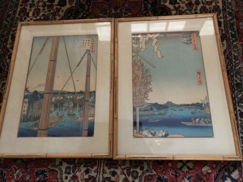 2   Ando Hiroshige  Wood block prints framed estate find