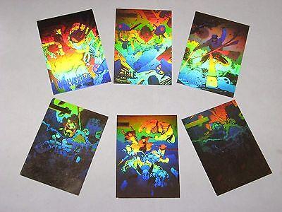 1992 MARVEL X-MEN SERIES 1 GOLD CHASE INSERT 5 CARD HOLOGRAM SET + PROMO MAGNETO