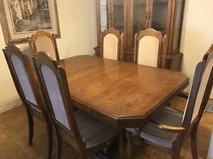 Solid Wood Dining table with chairs and hutch