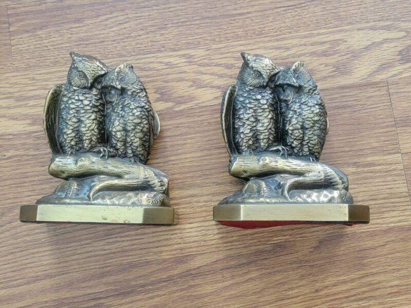 Vintage Set Brass Owls On Branch Heavy Bookends PM Craftsman USA Lovebirds