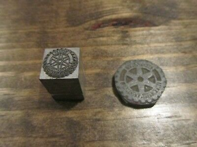 Rotary International Letterpress Wood And Brass Print Block Lot Of 2 Antique