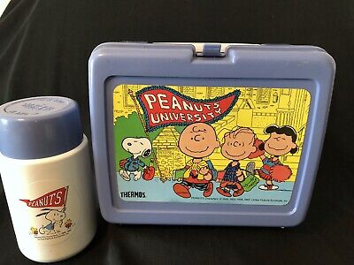Peanuts University Lunchbox Thermos Plastic Charlie Brown 1965 Snoopy Lucy Linus