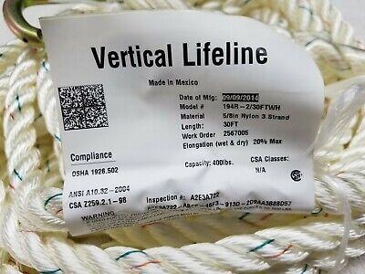 Miller Vertical Lifeline 30ft 194r-230ftwh