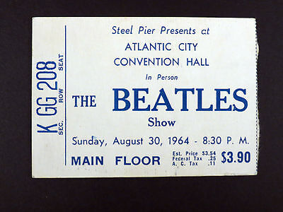 AUTHENTIC BEATLES CONCERT TICKET STUB STEEL PIER CONVENTION HALL AUG 30, 1964 NM on Rummage