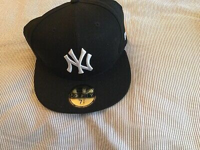 0240e42e3 New Era 59fifty Fitted Cap New York Yankees Black White Size 7 3/8 Authentic