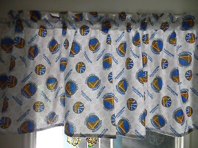 NBA GOLDEN STATE WARRIORS Sports Team Bedroom Curtain Valances, Blue & Gold - Gold State Warriors