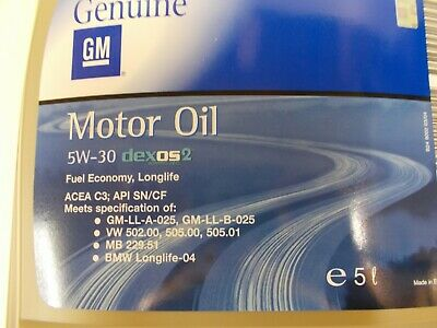 Original GM Opel Motoröl Dexos 2 Longlife 5W30 5 Liter 1942003 93165557