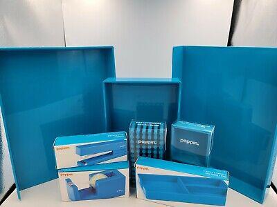 Poppin Desk Accessories Set Lot 8 Items Blue Nib File Tray Stapler Grip Grass