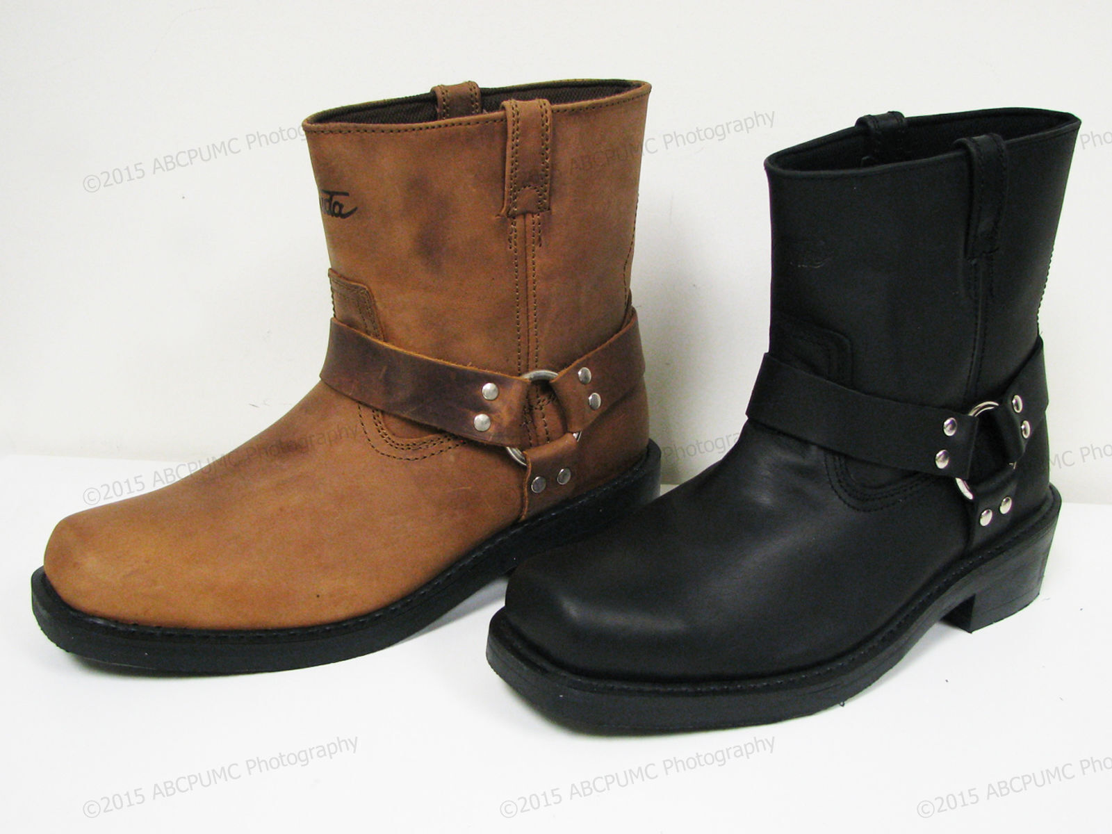 """Men's Harness Boots Motorcycle Biker 6"""" Leather Riding, Blac"""