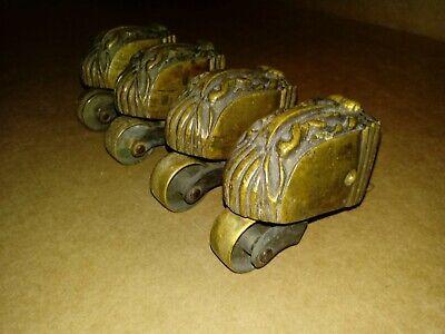 4 Vtg Solid Brass Antique Swivel Wheels Rollers French Leg Cap Feet Lot B