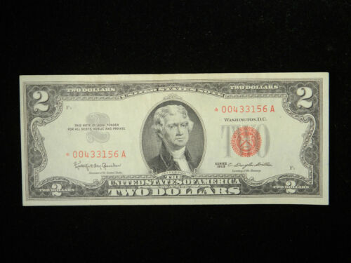1963 $2 *STAR* United States Note Red Seal XF Extremely Fine US Currency