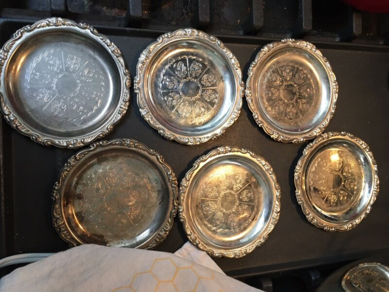 SET OF 6 4in. VINTAGE SILVER PLATED EP ON STEEL COASTERS MADE IN Hong Kong