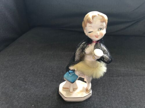 Vintage RELCO Lady Figurine RISQUE NAUGHTY Drinking Winking Pin-up Girl Fur L@@K