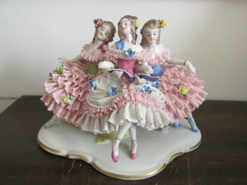 Antique Volkstedt Dresden Lace Germany Porcelain Figurine Three Girls