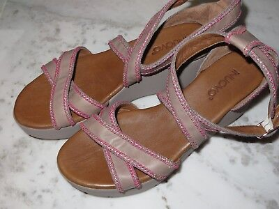 Inuovo taupe Pink Leather Platform Boho Wedge Heels Sandals Size 38/7US