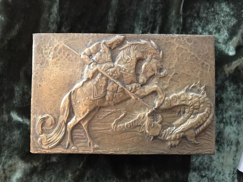 A Superb Antique Russian Brass  Decorated Wooden Box  St George & Dragon