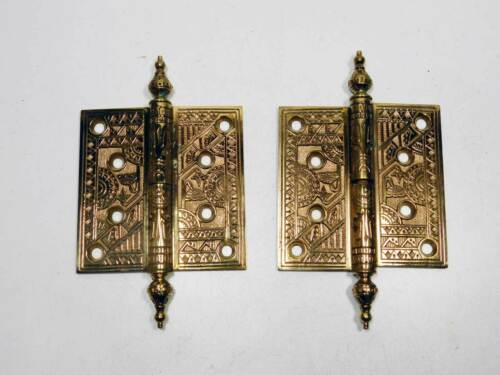 "1875 Antique 4"" x 4"" Cast Bronze Ornate Lift-off Door Hinges Left Hand"