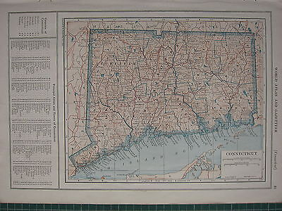 1926 MAP ~ CONNECTICUT PRINCIPAL CITIES LITCHFIELD MIDDLESEX