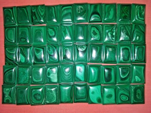 50 Malachite Cabochons 25 x 18 mm.