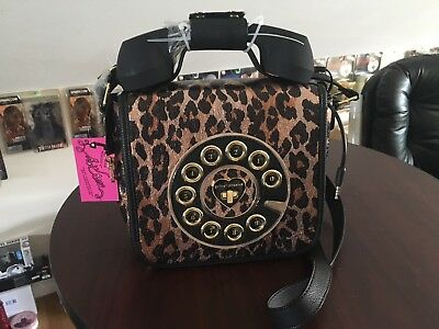 Betsey Johnson Kitsch Call Me Baby Phone Bag Crossbody Satchel Leopard Cheetah