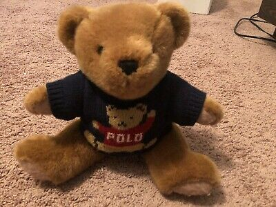 (Ralph Lauren Polo Vintage Teddy Bear in Navy Sweater Jointed Plush 15